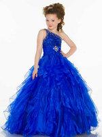 Handmde Beaded One Shoulder Layered Royal Blue Flower Girl Dresses