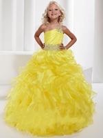 Organza One Shoulder Beded Yellow Flower Girl Dresses