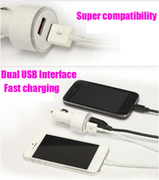 2pcs High Quality Beautiful Light Color Ring Double 2A Dual USB Mini Car Charger For Iphone 4 4S For iphone 5 Ipad galaxy note