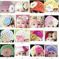 1pcs crochet baby big flower beanie infant handmade hats girl beanie 0-3Y size cotton custom