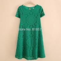 Brand same model new 2014 hot desigual medium-long style round neck women lace dress,loose plus size solid color dresses M-XXXL