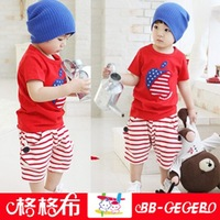 2014 New Arrival Baby & Kids Summer Children Clothing Sets T-shirts with Big Apple print And Harem Striped Pants Free Shipping