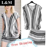Summer 2014 New Short sleeve European style V-neck Stripe T-shirt Shorts Leisure Temperament Fashion Set 2 piece sets QQ24