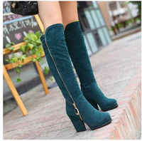 European and American high-heeled knee boots long boots women's boots boots high boots with thick high-heeled plus US size 12