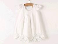 Free shipping 2014  New summer girls white dress children's clothing wholesale trade girls lot
