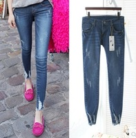 New Arrival 2014 Brand Mid Waist Women Straight Jeans high waist jeans   Slim Pencil Skinny Denim Fashion Casual Pants