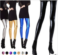 Free shipping New 2014 Plus Size  Fashion Sexy Shiny Metallic Candy Colors High Stretchy Leather  women long Leggings Pants