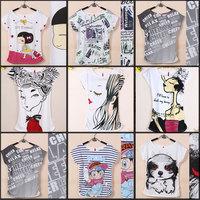 2014 Factory sales Fashion  Good Quality Cotton T Shirt Women  Short-sleeve t shirts  casual dress  Free Shipping women shirt