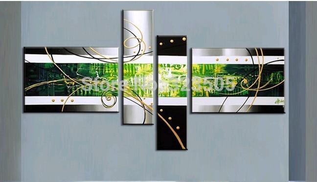 abstrato moderno 4 painel da arte da parede da lona pintado à mão pintura a óleo acrílico decorativo Verde sobre tela sala de estar decoração(China (Mainland))