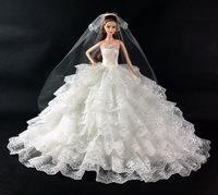 high quality handmade nice dress clothes+veil for lovely Doll B01