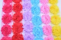 "10colors 2.5""shabby chiffon rose trim,chiffon frayed flowers,hair accessories 10yards/lot"
