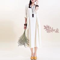 [ LYNETTE'S CHINOISERIE - Sang ] National 2014 trend women's pleated fluid long-sleeve dress