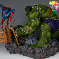 Big size Hulk Vs Spider resin hand-done gk Figure scene Free shipping