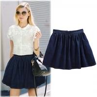 Women's denim skirt 2014 spring summer autumn denim mini skirt casual jean skirts for women soft dark blue denim skirt