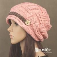2014 Beanies 007 Knitted Hat Sugar Wei Female Korean Version of The New Fashion Belt Decoration Warm Winter Days Cotton Cap Ear