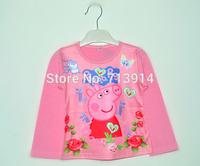 Cute children O-neck t shirts kids girls print pepa long sleeve cartoon peppa pig baby girls shirt retail child wear tops tees