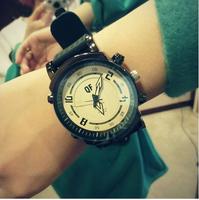 2014 new unisex women dress watches  large dial casual men watch sports lovers watch lady quartz wristwatces