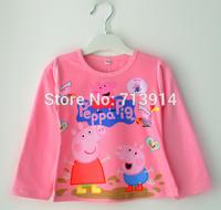 Baby girl long sleeve peppa masha pepa pig tshirt long sleeve 3D t shirts for Girls boys 2~8Age Children clothing retail