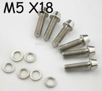10pcs/lot Titanium Ti Bolt Screw Conical Head Washer M5 x 18mm +Titanium Spacer Washers