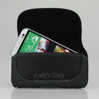 Genuine Leather Pouch Holster Cases Covers With Belt Clip For HTC One M8,Free Screen Protector,Drop Shipping