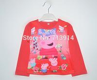 Spring 2014 new arrival Free Shipping Girls Cartoon peppa Printed T Shirt Kids Fashion pepa pig Long Sleeve Tops tees t- shirts