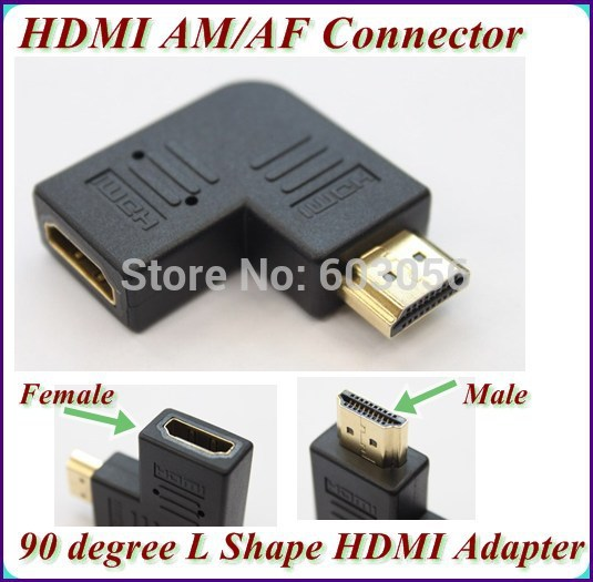90 degree angle HDMI cable Extend Adapter Converter HDMI female to HDMI male Connector Coupler HDTV 50pcs(China (Mainland))