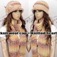 2014 Korean Style Fashion ladies knit wool cap warm winter wool hat hat ear warmers cap knitted yarn pile Scarf + Hat Sets
