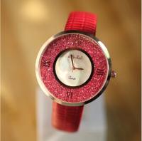 Hot women Luxury dress watch big brand design watch Genuine Leather strap rhinestone Quartz Watch with quicksand