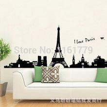 1set 180 x 60cm Eu amo Paris Sala de estar Vinil adesivos de parede arte da torre Eiffel Adesivo Decoração para o quarto dos miúdos Wallpapers 3D Decor(China (Mainland))