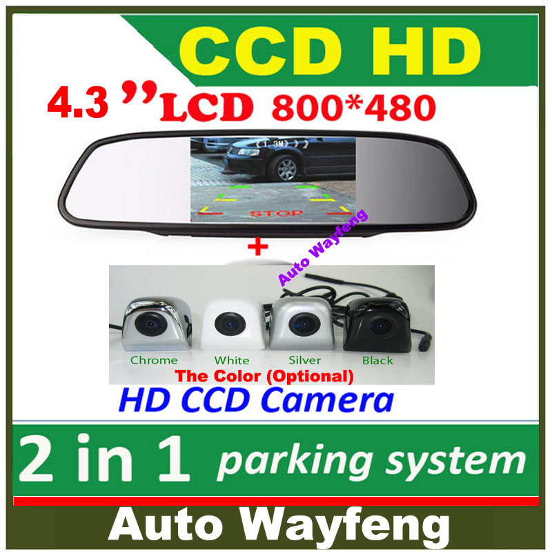 "2 in 1 HD CCD backup reversing Camera +4.3"" HD 800*480 Car Mirror Monitor , rear view mirror monitor car parking camera(China (Mainland))"