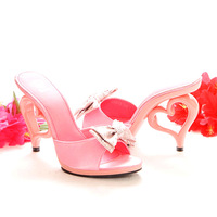 2014 New Women sandals Heart-shaped heel Love romantic bow with women's shoes ultra high heels sandals slippers whit flower