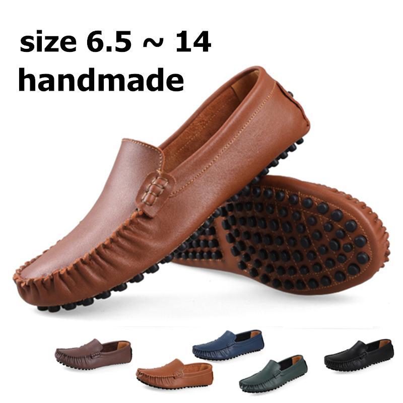 Größe 6~14 echtem leder handarbeit männer Wohnungen, 2014 männer sommer original hecrafted markenschuhe, Mann slipper für männer mokassins