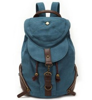 Fashion Cotton Canvas Backpack,straw string outdoor travel bag,washed canvas bag with genuine leather,Men/ Women /School
