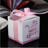 15 Pcs PINK Laser Cut Carriage Gift Candy Bomboniere Boxes Wedding Favors Baby Shower
