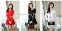 Free shipping 2014 fashion New spring Women Long-sleeved lace dress / A-line dress Loose chiffon mini dress