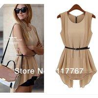 2014  New Fashion Women's Irregular Vest Shirts Elegant Chiffon Blouses Sleeveless Collect Waist OL Ladies Tops + Belt 652567