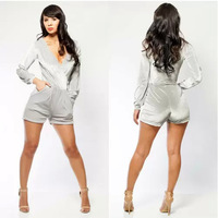 New Fashion Elegant Rompers Womens Jumpsuit Overalls Plus Size One Piece Bodysuit One Piece Shorts Gray Dress