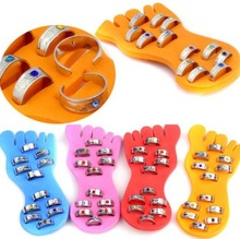 Wholesale Jewelry Mixed Lots 12pcs New Crystal Adjustable Foot Toe Rings + 1 Foot Pad