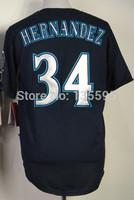 Wholesale!Cheap,#34 Felix Hernandez Men's Blue 2014 New Embroidery logos Baseball Jerseys Sale Free Shipping,Can mix order