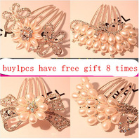 9.9 bride hair accessory sparkling rhinestone pearl hair maker hair accessory fat plug hair pin comb fork
