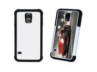2 in 1 Sublimation double Rubber case for Samsung S5 free shipping 100pcs/lot