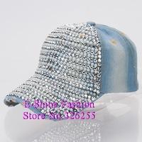 Wholesale snapbacks hats new popular denim jeans women baseball cap brand hip hop rhinestone crystal cute beauty snapback caps