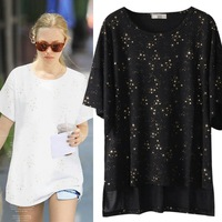 Venus loose plus size 2014 summer new arrival low-high female T-shirt round neck pullover sweater