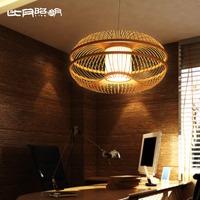 Living room lamps japanese style modern brief bamboo lantern pendant light 3139