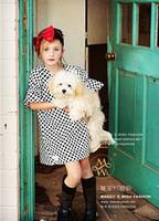 Free shipping 2014 Children's clothing girls summer child 2014 polka dot 100% cotton dot fashion child princess one-piece dress
