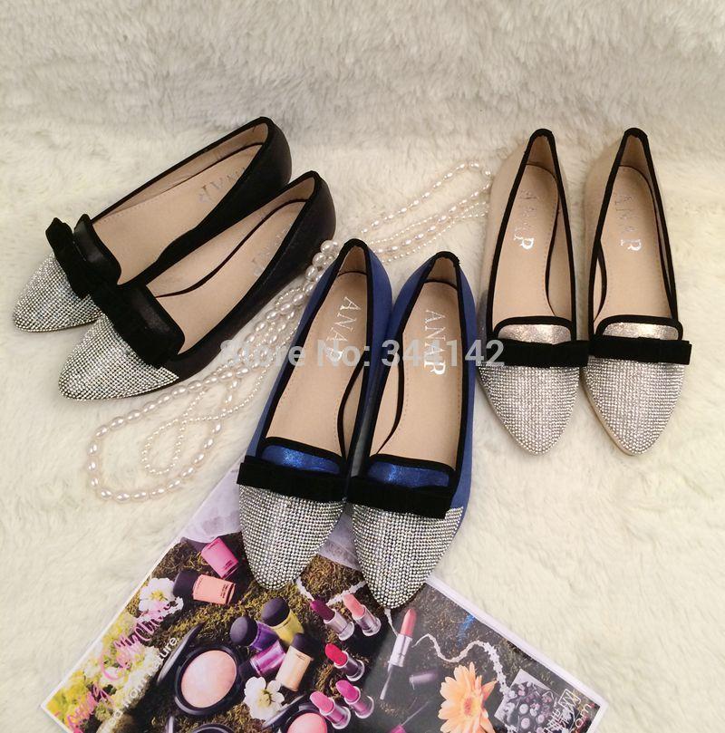 2014 novos sapatos de diamante luxuosos apartamentos / Flat apontou sapatos / arco documentários sapatos casuais ( 35-40 )(China (Mainland))