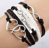 Free Shipping Antique Silver Charm One Direction Infinity Heart Braided cord Leather Mixed Bracelet Wristbands Xmas Gift E4088