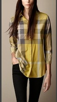 2014  New Style Women Casual Plaid BIg  brand  Checked Cotton Short Sleeve Sport T-Shirt