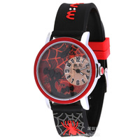 Korean Mini Polymer Clay Cartoon Lovely Kids/Children/Boy Watch-Black Band Red Dial