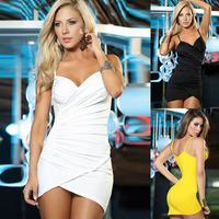 Free Shipping Hit Color Yellow V Neck Spandex Club Dress Dance Wear Women Mini Dresses Evening Party Club Wear